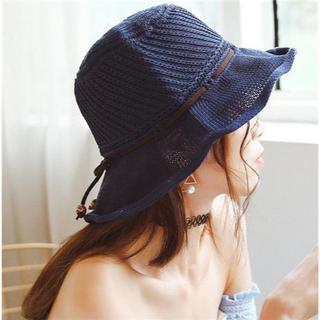 UVカット 帽子(クローシュ)ネイビー(その他)