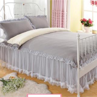 大人気 王女風 ベッド用4点セット シングル 新品 グレー