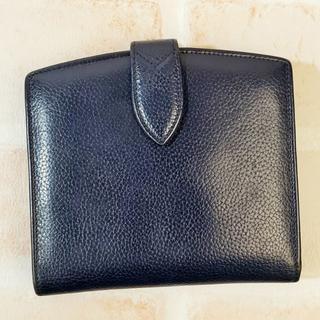 コーチ(COACH)のオールドコーチ ☆ レザー がま口 折財布 ネイビー イタリア製(財布)