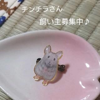 ハンドメイド 小動物 チンチラ グレー バッジ(コサージュ/ブローチ)
