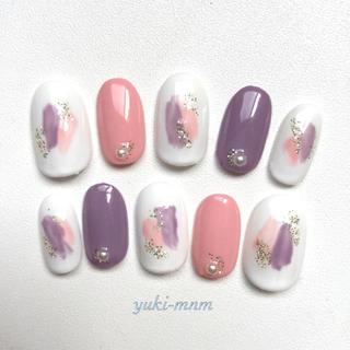 ネイルチップ 秋色 ニュアンスネイル ピンク パープル