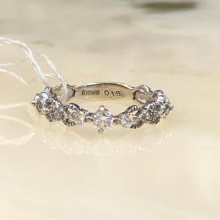 [本物・新品未使用]k10WG 0.18ct 5号 ダイヤモンド 9p リング(リング(指輪))