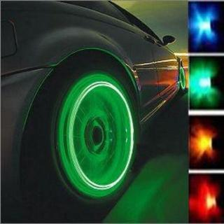 タイヤ LED エアバルブキャップ レインボー 光センサー 4個セット