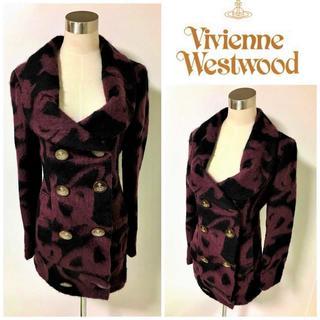 ヴィヴィアンウエストウッド(Vivienne Westwood)のVivienne Westwood オーブ 総柄 ラブ襟 ピーコート (ピーコート)