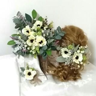 ☆ 結婚式3点セット ウェディングブーケ+髪飾り+ブートニア カスミ草(ブーケ)