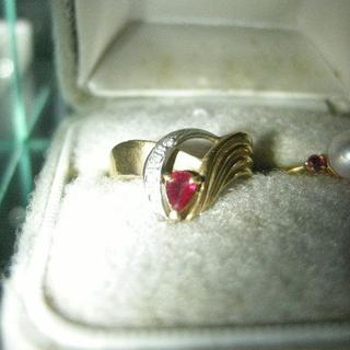 ルビー ダイヤモンド  K18 Pt900  エレガント・リング(リング(指輪))