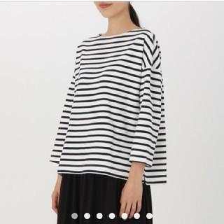 ムジルシリョウヒン(MUJI (無印良品))の新品  無印良品 ドロップショルダー ボーダーTシャツ カットソー(Tシャツ(長袖/七分))
