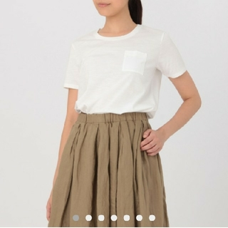 新品 オーガニックコットンムラ糸クルーネック半袖Tシャツ 白