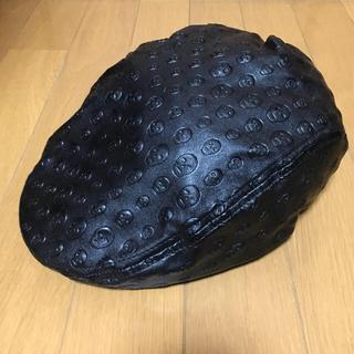 ハンチング/スカル柄×ブラック(ハンチング/ベレー帽)