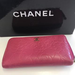 シャネル(CHANEL)のシャネル カメリア ラウンドファスナー 長財布 レディース 正規品(財布)