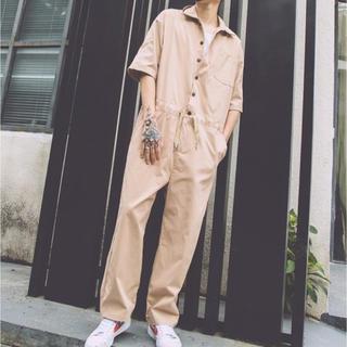 メンズ オールインワン カジュアル パンツ 9分丈 半袖ツナギ カッコいい(サロペット/オーバーオール)