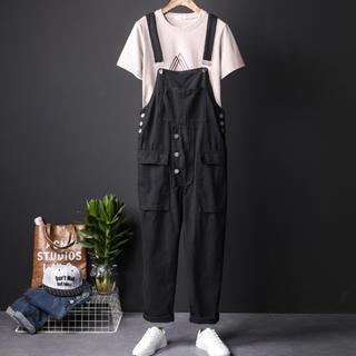 メンズ サロペットオーバーオール  綿素材 パンツ カジュアル ブラック(サロペット/オーバーオール)