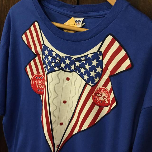 3865966c59267 アメリカ古着 だまし絵 プリント Tシャツ アンクルサム タキシードプリント メンズのトップス(