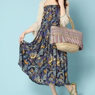 carlifeブルー花柄ロングスカート