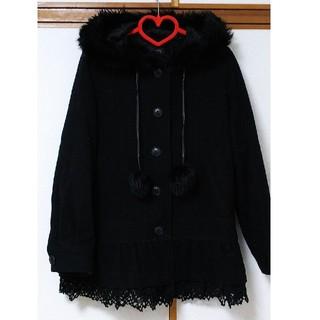 レストローズ(L'EST ROSE)のファー付きフードの黒コート(ピーコート)