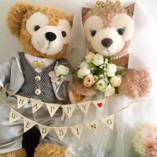麻布 ミニガーランド Happy Wedding ウエディング(ガーランド)