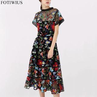 ZARA - デザイナー製大人気❗️豪華 花柄刺繍 メッシュ シースルー  ワンピース ドレス
