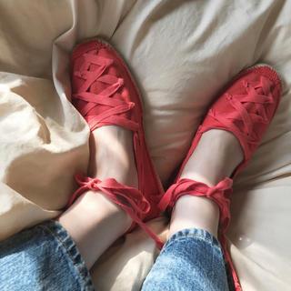 ロキエ(Lochie)のvintage shoes バレエシューズ レース リボン 6500↓(バレエシューズ)