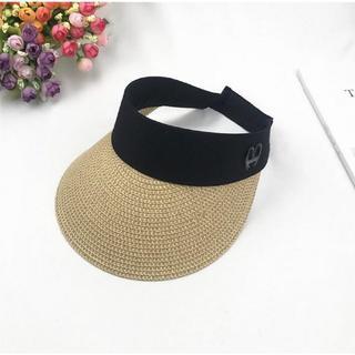 レディース サンバイザー 麦わら帽子 ベージュ UV カット 紫外線対策(その他)