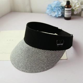 レディース サンバイザー 麦わら帽子 グレー UV カット 紫外線対策(その他)