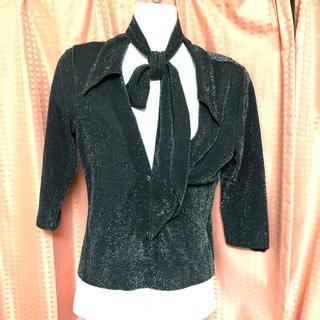 ゴーサンゴーイチプーラファム(5351 POUR LES FEMMES)の5351ネクタイスカーフ付きラメカットソー(カットソー(長袖/七分))