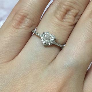 美品 プラチナ900 ダイヤモンド ハート リング 指輪 Pt900(リング(指輪))