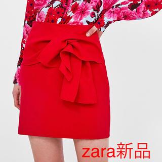 ZARA - ZARAザラ 新品 リボン付きミニスカート 赤