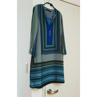 ZARA - ★ZARA スカーフ柄 ワンピースチュニック(ブルー系)