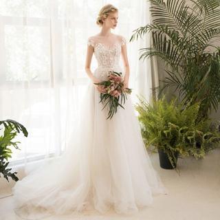 ウエディングドレス*チュールとお花のフェミニンドレス トレーン