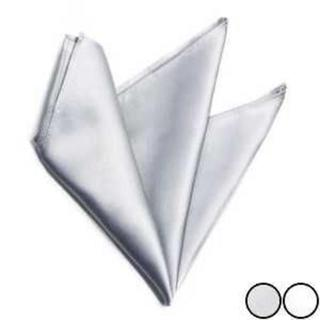 メンズ ポケットチーフ フォーマル 胸ポケット シルク 100% シルバー(ハンカチ/ポケットチーフ)