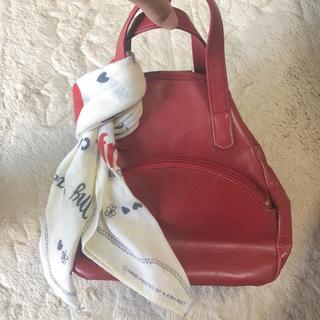 フラワー(flower)の赤 巾着型皮バック(ハンドバッグ)
