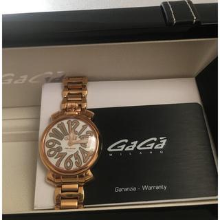 ガガミラノGaGaマニュアーレピンクゴールド腕時計1年保証付き