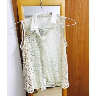 ジーユー(GU)の【Sサイズ】透け感 ノースリーブ シャツ(シャツ/ブラウス(半袖/袖なし))