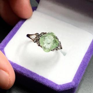 新品 グリーントルマリン お花 リング 指輪(リング(指輪))