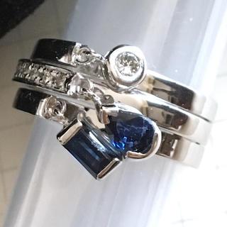 K18WG ダイヤモンド サファイア リング 11.5サイズ 揺れる✴︎ブルー(リング(指輪))