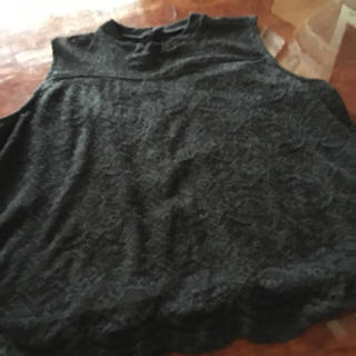シマムラ(しまむら)のブラックレーストップス(カットソー(半袖/袖なし))