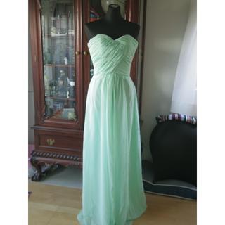 未使用新品! ミントグリーン ロングドレス Sサイズ 結婚式 ゲストドレス
