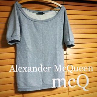 アレキサンダーマックイーン(Alexander McQueen)のセール アレキサンダーマックイーン mcQ  半袖 トレーナー  グレー S(Tシャツ/カットソー(半袖/袖なし))