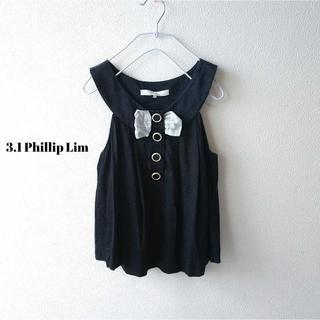 スリーワンフィリップリム(3.1 Phillip Lim)の3.1フィリップリム★リネンノースリーブトップス リボン XS 黒 モード(シャツ/ブラウス(半袖/袖なし))