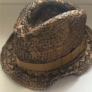アッシュペーフランス(H.P.FRANCE)の【 ハット 】ブロンズ ゴールド 麦わら帽子 中折れ リボン インポート(ハット)