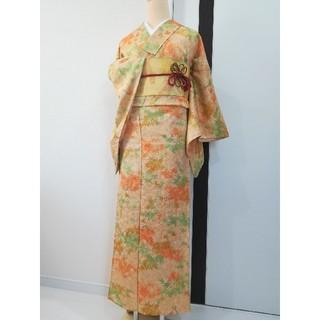 単衣▫小紋《美品・秋馨る紅葉の季節柄小紋・地紋入り》 770(着物)