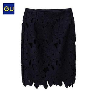 GU - 新品未使用 GU レースタイトスカート ネイビー