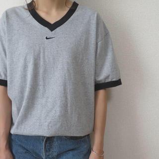 ナイキ(NIKE)の90s NIKE リンガー Tシャツ ロゴ刺繍 スウォッシュ vintage(Tシャツ(半袖/袖なし))