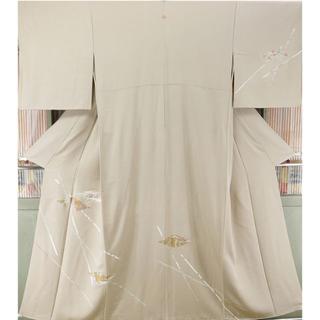 266 正絹 訪問着 京友禅 刺繍 一つ紋 パールトーン(着物)