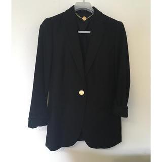 アクアガール(aquagirl)のaquagirl 七分袖シングルテーラードジャケット ブラック 36(テーラードジャケット)