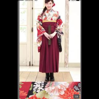 【中古】着物袴セット 臙脂色 着物セット卒業式 着付け小物/髪飾り付き 袴セット(着物)