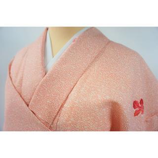 クリーニング済 洗える着物 小紋 ポリエステル 淡紅色 003 キモノリワ(着物)