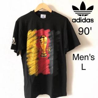 アディダス(adidas)のビンテージ  アディダス  Tシャツ 90' 黒 半袖 ワールドカップ フランス(Tシャツ/カットソー(半袖/袖なし))