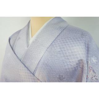 クリーニング済 洗える着物 小紋 ポリエステル 紫 藤色 001 キモノリワ(着物)