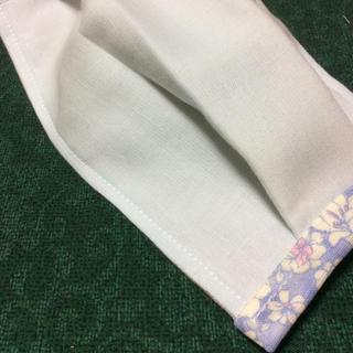 水色ダブルガーゼ サイドお花 プリーツマスク★Mサイズ(その他)